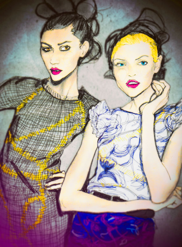 Artist Danny Roberts Fashion Illustration of Jason Wu spring 2010 collection