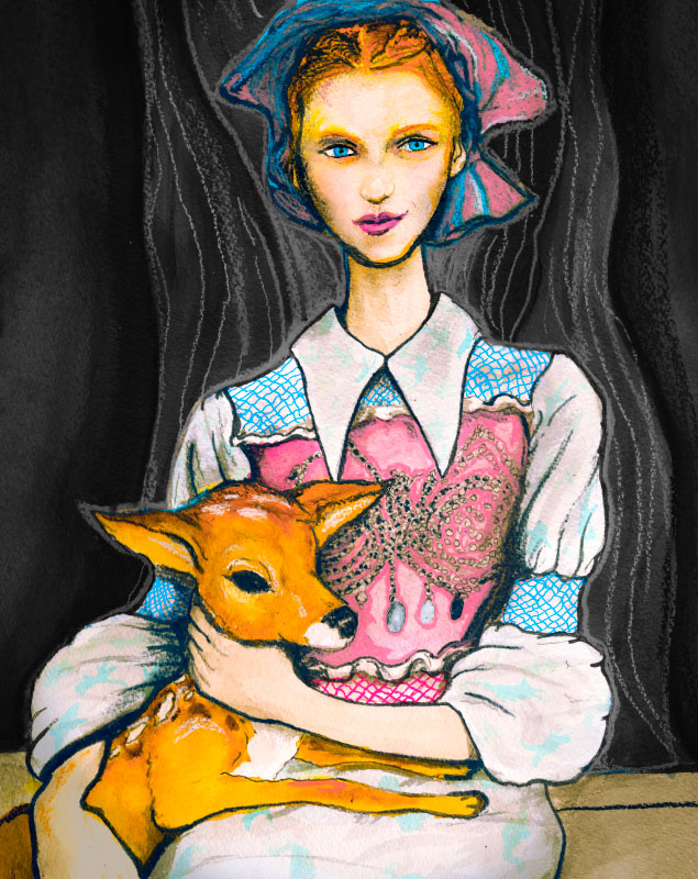 Multi-Artist Danny Roberts paints Julia Frakes holding a dear in a mui mui collection for the Woodstock Animal Sanctuary