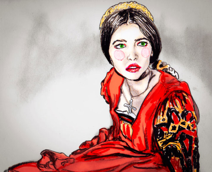 Danny Roberts painting of Juliet of Romeo and Juliet from 1968 movie. she is sitting in a red dress