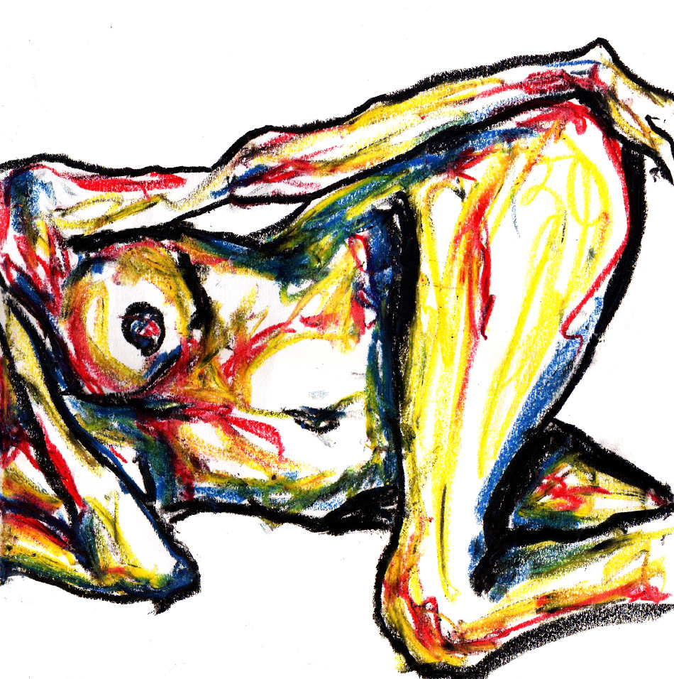 Artist danny roberts oil pastel figure drawing nude sketch