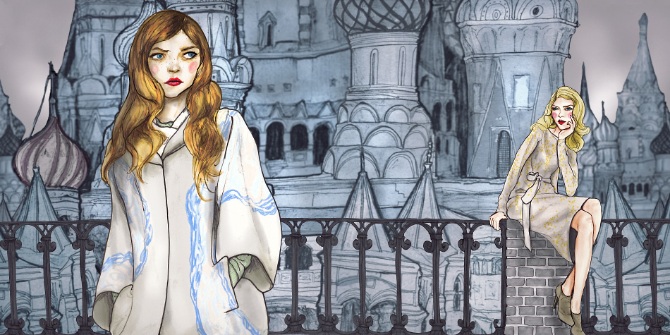 Danny Roberts Painting for editorial setting is st basils cathedral Russia, with 2 girls standing on a bridge