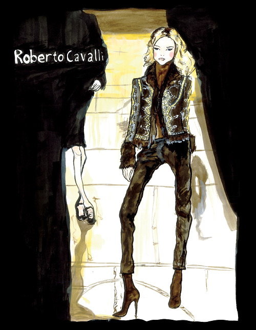 This is a Water colour Danny Roberts did of a roberto Cavalli Collection