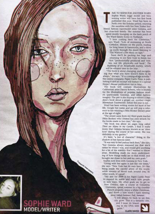 This is a interview with Sophie Ward in the  Western Australia Sunday Times Art by Danny Roberts