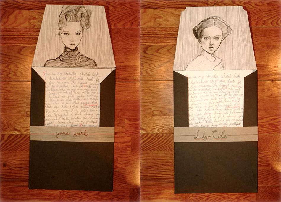 Theses are the envelopes Artist Danny Roberts Mailed to Australian Model Gemma Ward and to UK model Lily Cole