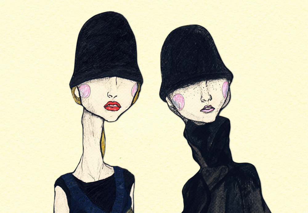Artist Danny Roberts Layered art fashion illustration of proenza schouler Fall 2007 collection
