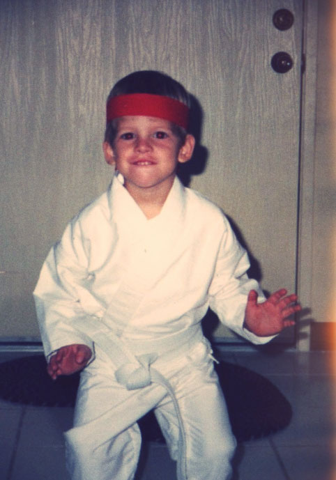 a Photo of Young Danny Roberts in a ninja suit