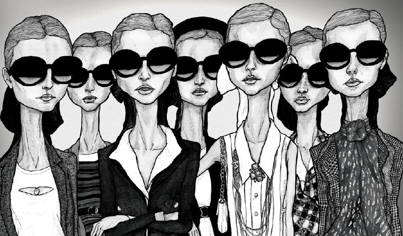 Artist Danny Roberts Fashion illustration of the ladies of chanel girls in glasses spring 2007