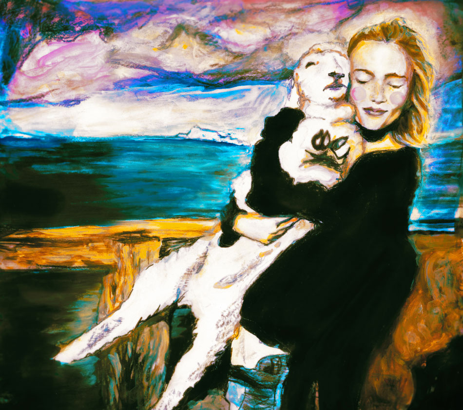 Colorful painting of DNA fashion Model Emily Baker holding a lamb in New Zealand by the sea