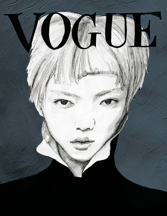 Visual Artist & Fashion Painter Danny Roberts Reinterpreted Vogue Taiwan Magazine Cover of Japanese Model Actress Rila Fukushima